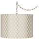 Embroidered Hourglass 16 inch Wide Brass Plug-In Swag Chandelier