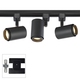 3-Light Black Cylinder 10W LED Floating Canopy Track Kit