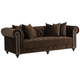 Jules 90 inch Wide Chocolate Brown Velvet Tufted Chesterfield Sofa