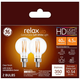 40W Equivalent GE Clear 4.5W LED Dimmable Candelabra 2-Pack