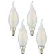 40W Equivalent 4W LED Dimmable Flame Tip Candelabra 4-Pack