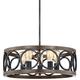 Salima 21 1/4 inch Wide Bronze and Wood 5-Light Chandelier