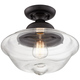 Schoolhouse 13 inch Wide Black Clear Glass Ceiling Light