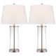 Glass and Steel Cylinder Fillable Table Lamp Set of 2