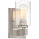Poetry 9 inch High Nickel and Gray Wood Rustic Wall Sconce