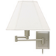 Pewter Finish With Shade Plug-In Swing Arm Wall Lamp