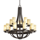 Sperry 33 inch Wide Bronze and Scavo Glass 15-Light Chandelier