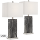Connie Black Faux Marble USB Table Lamps Set of 2