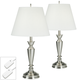 Brushed Nickel Table Lamps Set of 2 with Table Top Dimmers