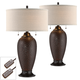 Cody Hammered Bronze Lamps Set of 2 with Table Top Dimmers