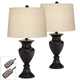 Metal Urn Bronze Table Lamps Set of 2 with Table Top Dimmers