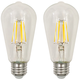 60W Equivalent Clear 7W LED Dimmable Standard ST19 2-Pack