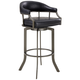 Edy 26 inch Black Faux Leather Swivel Counter Stool