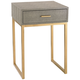 Govea 14 inch Wide Gray Faux Shagreen and Gold 1-Drawer Side Table