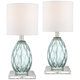 Rita Blue-Green Glass Accent Table Lamps With Square Risers