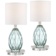 Rita Blue-Green Glass Accent Table Lamps With Round Acrylic Risers