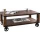 Veria 48 inch Wide Dark Oak Industrial Wheeled Coffee Table