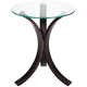 Niles 17 3/4 inch Wide Bent Wood and Glass Modern Accent Table