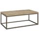 Alana Steel and Acacia Wood Top Rectangular Coffee Table