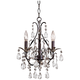 Castlewood Walnut and Crystal 3-Light Small Mini Chandelier