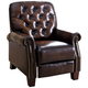 Camden Two-Toned Brown Hand-Rubbed Leather Pushback Recliner