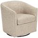 Tyler Trinity Stone Fabric Swivel Armchair