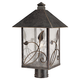 French Garden 17 inch High Glass and Bronze Outdoor Post Light