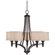 La Pointe 26 inch Wide Oatmeal Linen Shade Chandelier