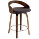 Gratto 24 inch Chocolate Faux Leather and Walnut Counter Stool