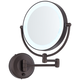Cordless LED Pivoting 9 inch Wide Bronze Wall Mount Mirror