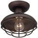 Franklin Park 8 1/2 inch Wide Bronze Caged Outdoor Ceiling Light