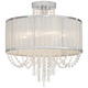 Ellisia 19 3/4 inch Wide  Silver Organza Shade Chrome Ceiling Light