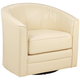 Keller Ivory Bonded Leather Swivel Club Chair
