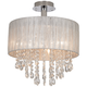 Possini Euro Jolie 15 inch Wide Silver and Crystal Ceiling Light
