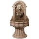 Reconstituted Granite Lion 49 inch High Wall Basin Fountain
