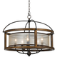 Mission 26 inch Wide Wood 5-Light Pendant Chandelier
