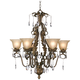 Iron Leaf 29 inch Wide Roman Bronze and Crystal Chandelier