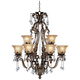 Iron Leaf 34 inch Wide Bronze and Crystal 12-Light Chandelier