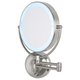 Cordless LED Pivoting 9 inch Wide Satin Nickel Wall Mount Mirror