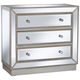 Trevi 32 inch Wide 3-Drawer Silver Mirrored Accent Chest