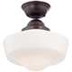 Schoolhouse Style 13 3/4 inch Wide Brushed Bronze Ceiling Light