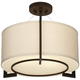 Stinson 17 1/4 inch Wide Linen and Bronze 3-Light Ceiling Light