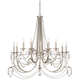 Strand 46 inch Wide Silver Leaf 12-Light Chandelier