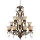 Iron Leaf 39 inch Wide Roman Bronze and Crystal Chandelier