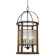 Mission 16 inch Wide Wood Round 4-Light Pendant Chandelier