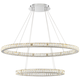 Wainwright LED 48 inch Wide Crystal Double-Ring Chrome Pendant Light