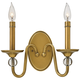Hinkley Eleanor 9 inch High Heritage Brass 2-Light Wall Sconce