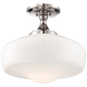 Schoolhouse Style 17 1/4 inch Wide Polished Nickel Ceiling Light