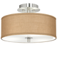 Woven Burlap 14 inch Wide Ceiling Light