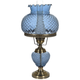 Blue Hobnail Glass 26 inch High Hurricane Table Lamp
